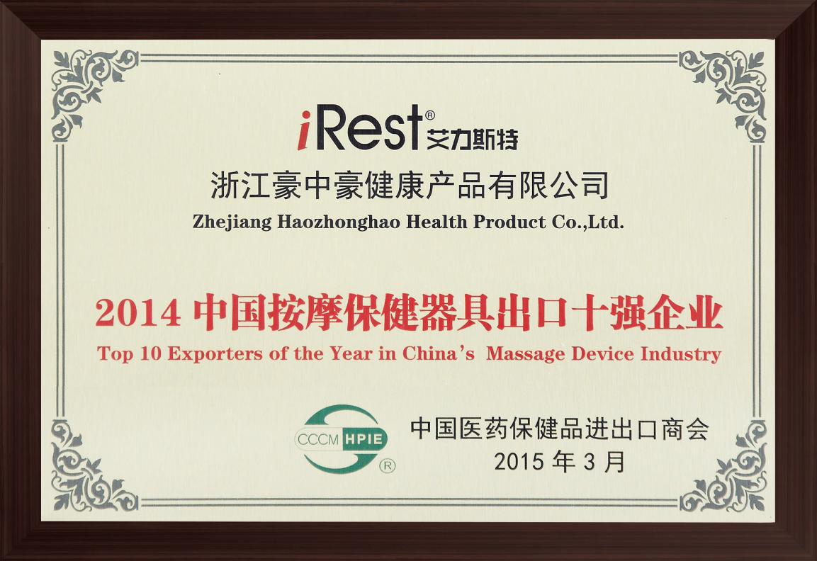 Top ten Massage Appliance Exports of Year 2014